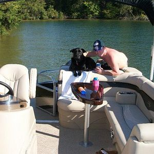 Sambuca and Daddy enjoying a day on the water